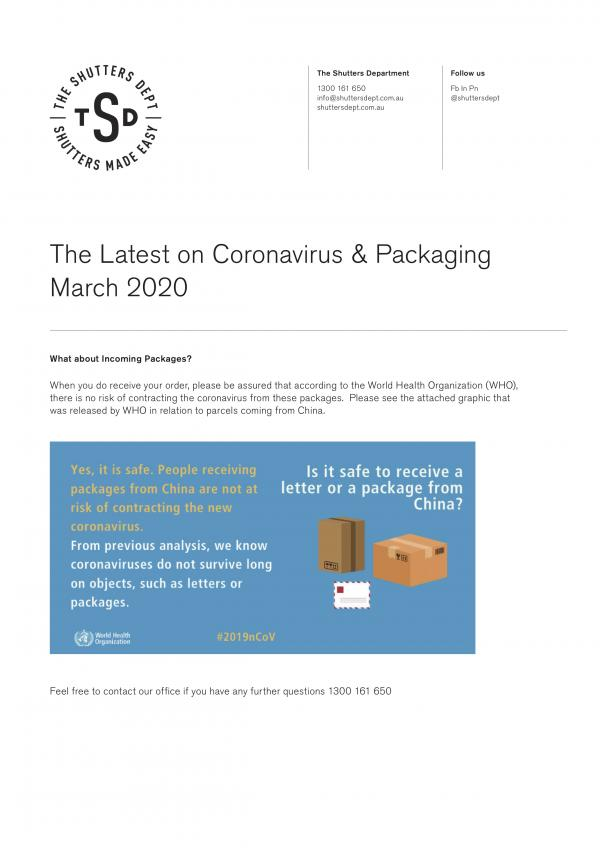 Shutters Dept PAckaging Update Coronavirus